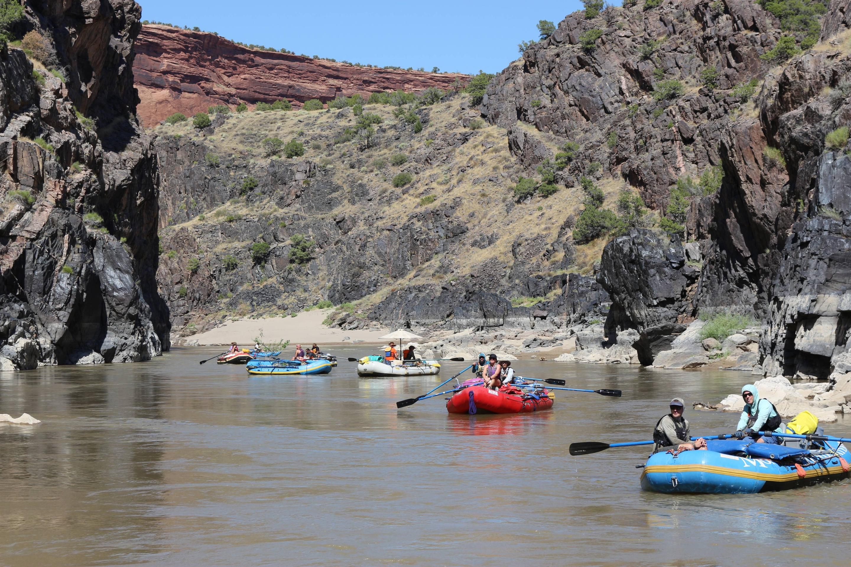 Boaters in the canyon