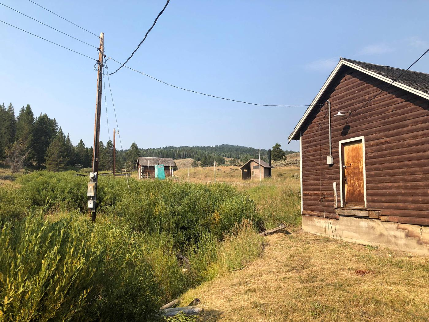 West viewBarn, horse corrals, and vaulted toilet