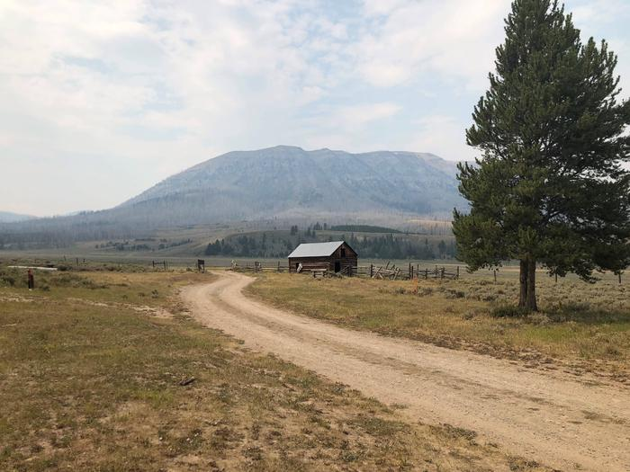 Snyder BasinThis is the view looking into the Snyder Basin.  Old Barn and horse corrals.  The corrals have been redone 2019