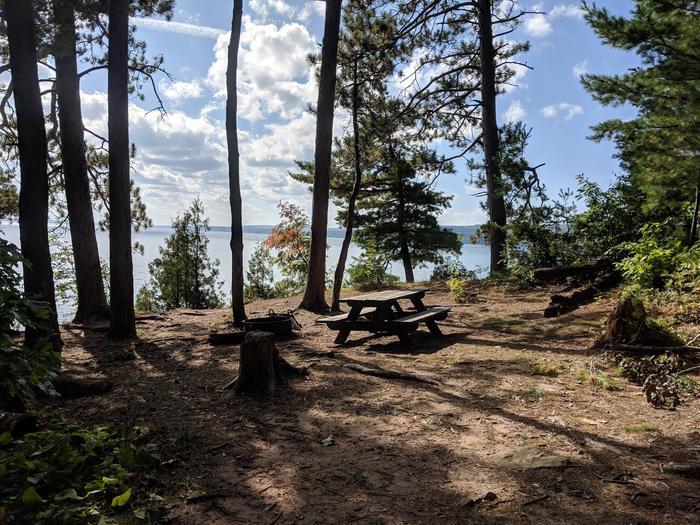 Basswood site 1 campsite overlooking lakeBasswood site 1 campsite
