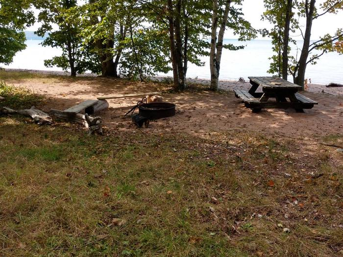 Manitou 1 campsite with fire ring, picnic, and lake viewManitou 1 campsite