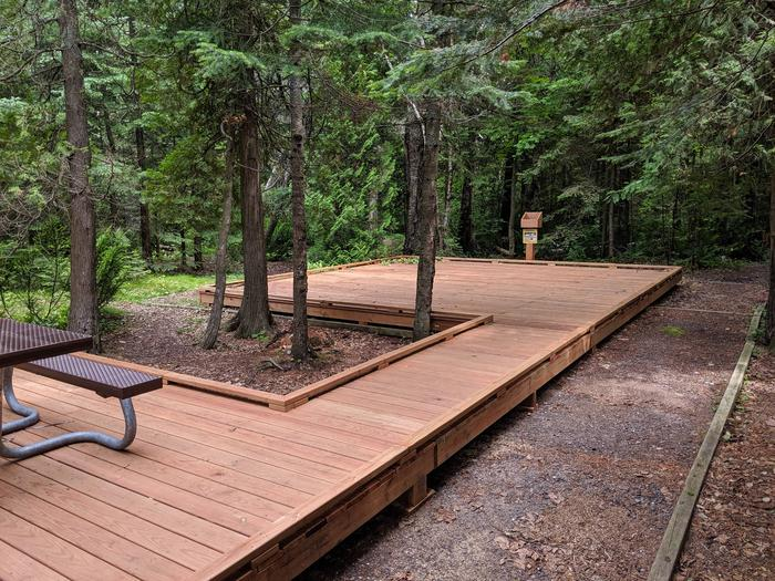 Stockton site 1 on a wooden platform with accessible picnic tableStockton site 1 - accessible