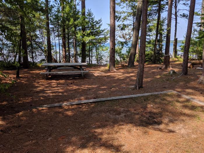 Stockton site 8 with picnic table, tent pad, and lake viewStockton site 8