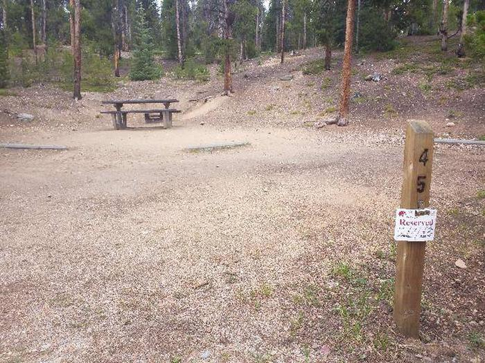 Baby Doe Campground, site 45 marker