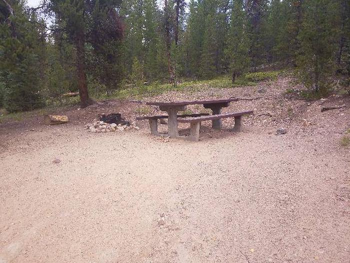 Baby Doe Campground, site 48 table and fire ring