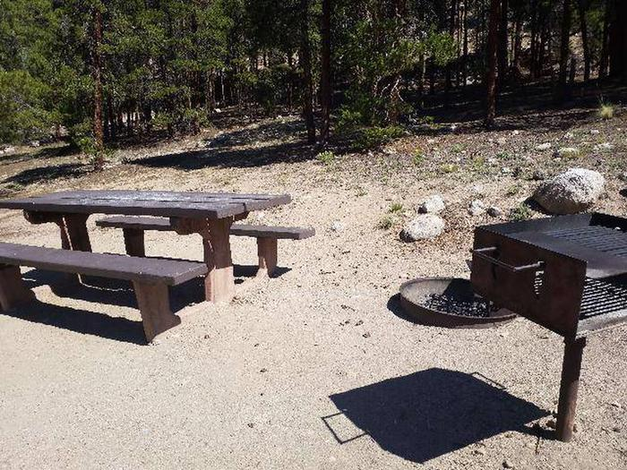 Lakeview Campground, Site A4 table and fire grill