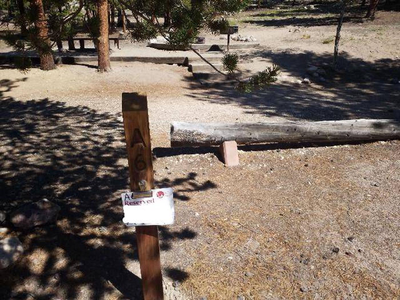 Lakeview Campground, Site A6 marker