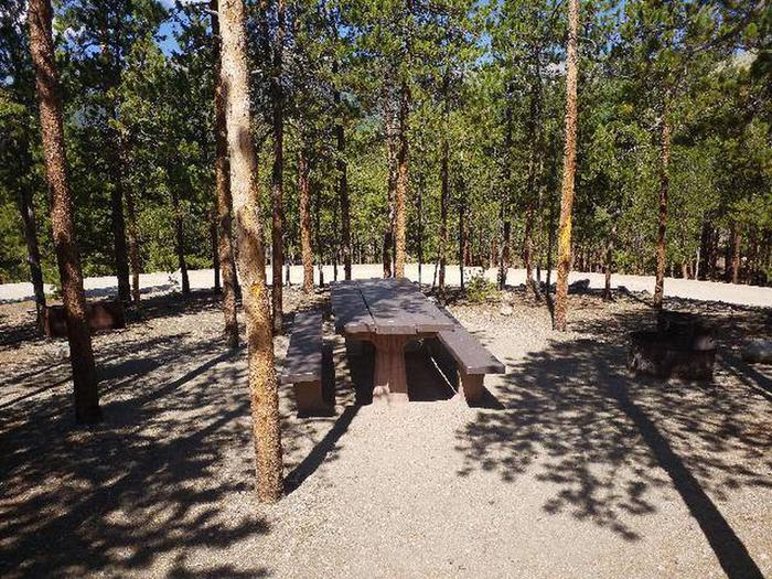 Lakeview Campground, site A10 picnic table