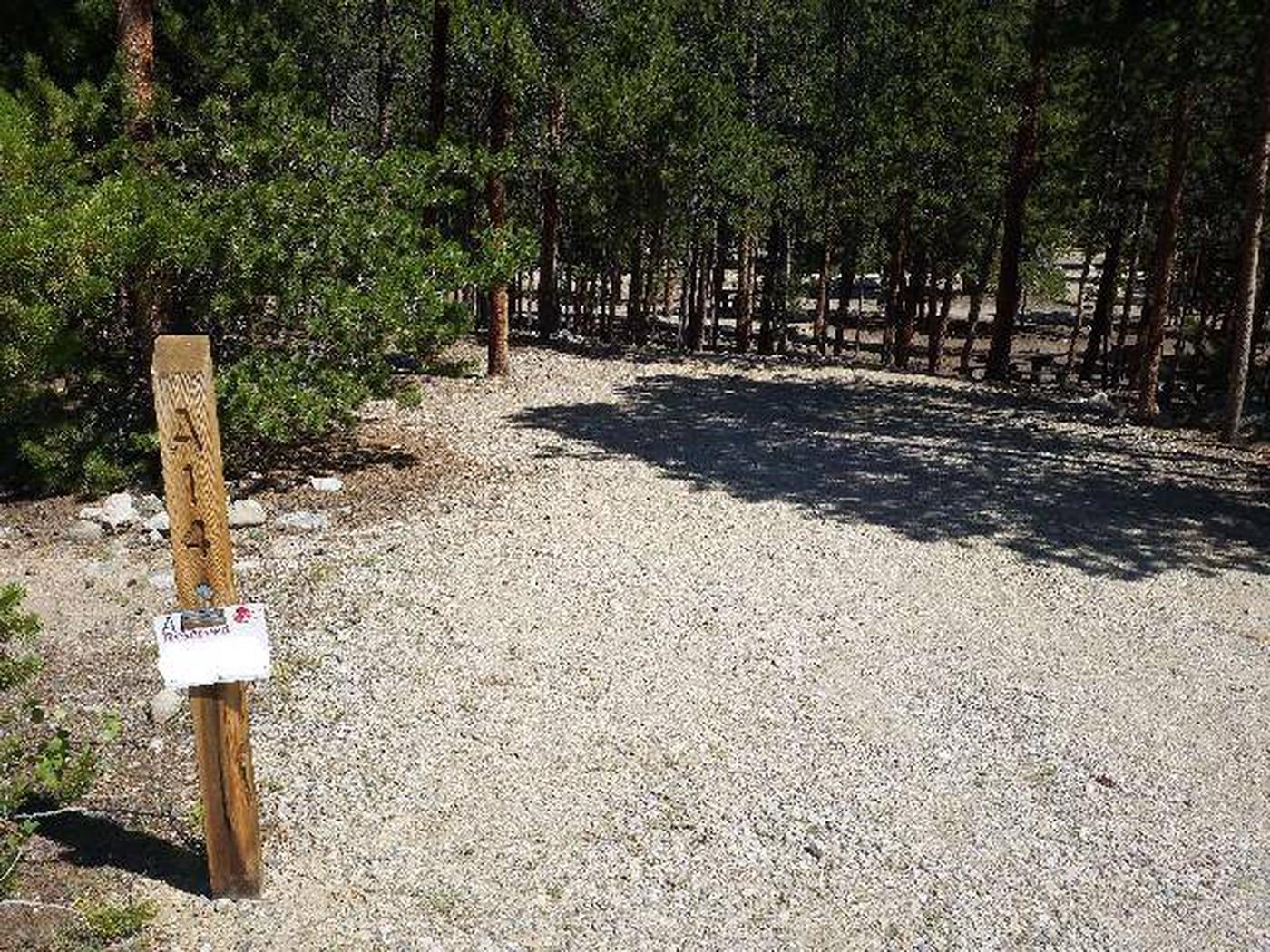 Lakeview Campground, site A14 marker