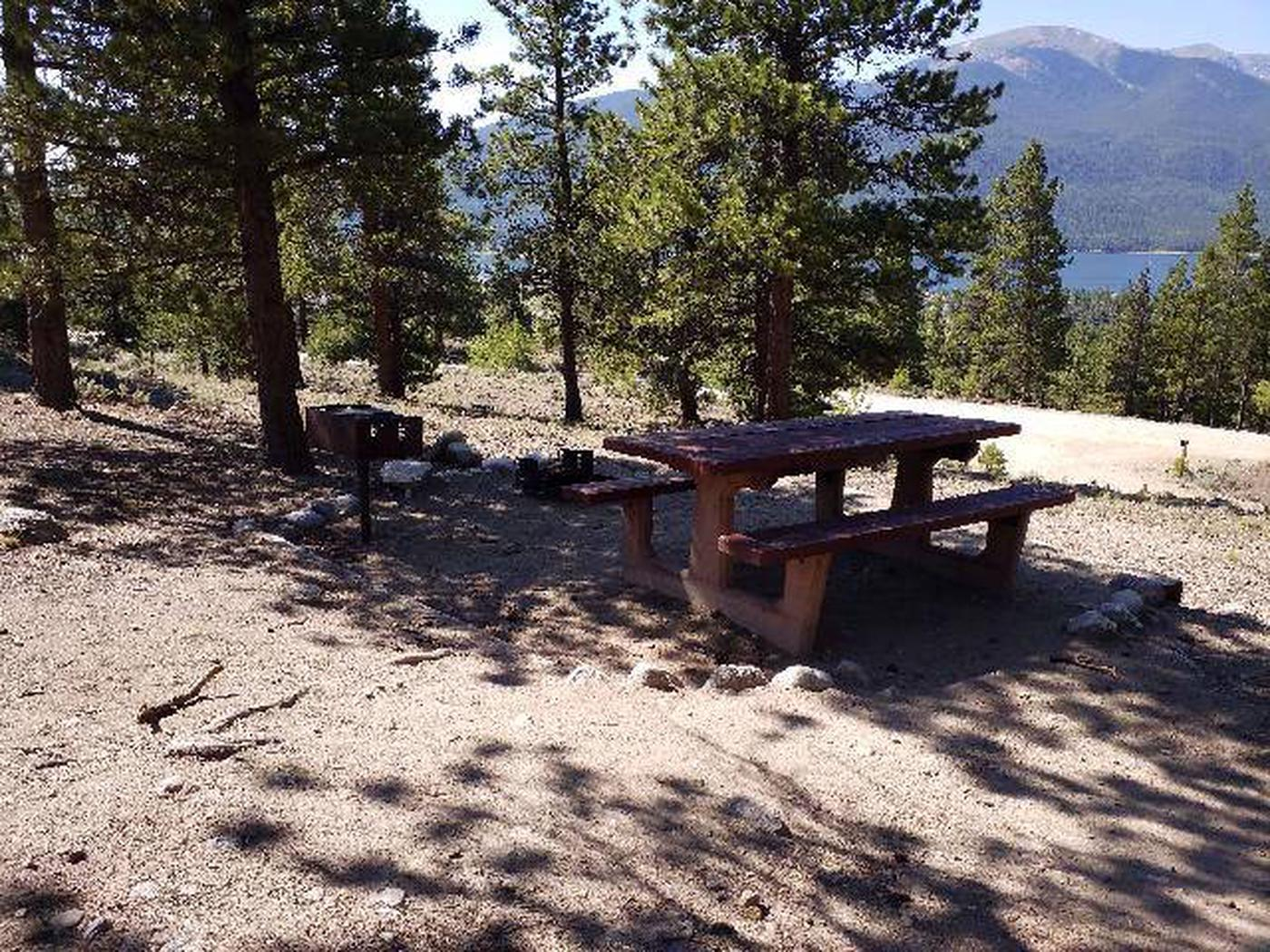 Lakeview Campground, site B1 picnic table