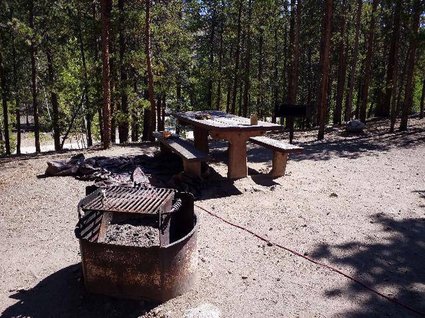 Lakeview Campground, site B3 picnic table and fire ring