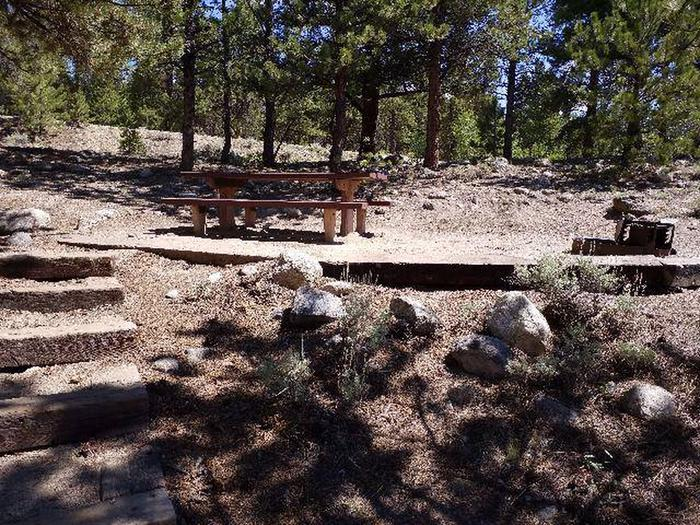 Lakeview Campground, site E3 picnic table and fire ring