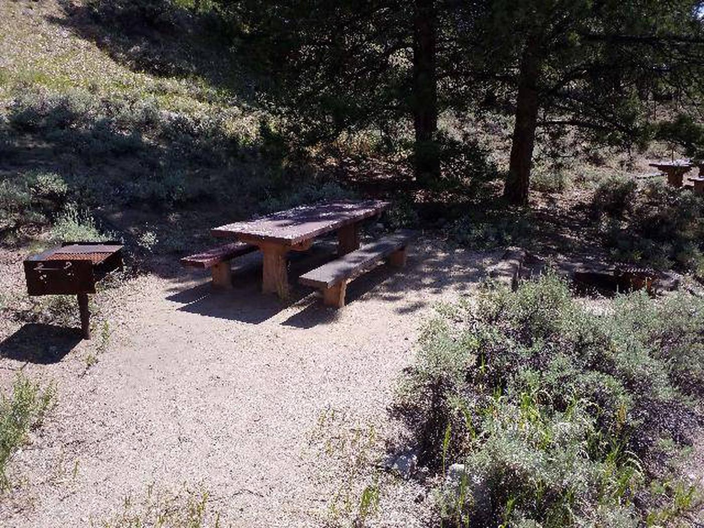 Lakeview Campground, site E7 picnic table and grill