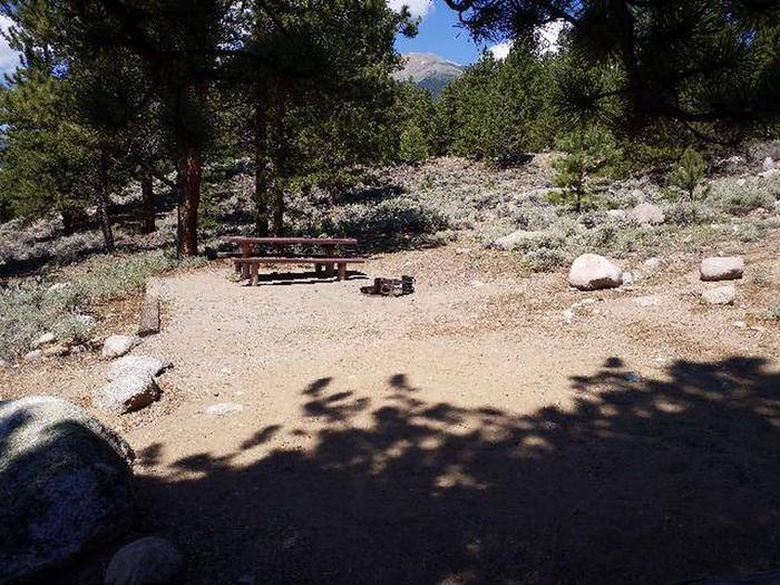 Lakeview Campground, site E8 picnic table and fire ring