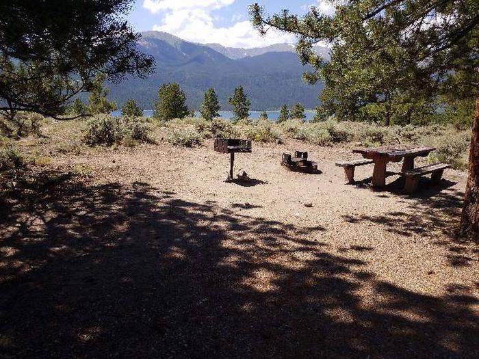 Lakeview Campground, site E9 picnic table, fire ring, and fire grill