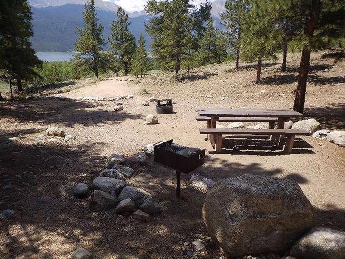 Lakeview Campground, site F6 picnic table, fire ring, and grill