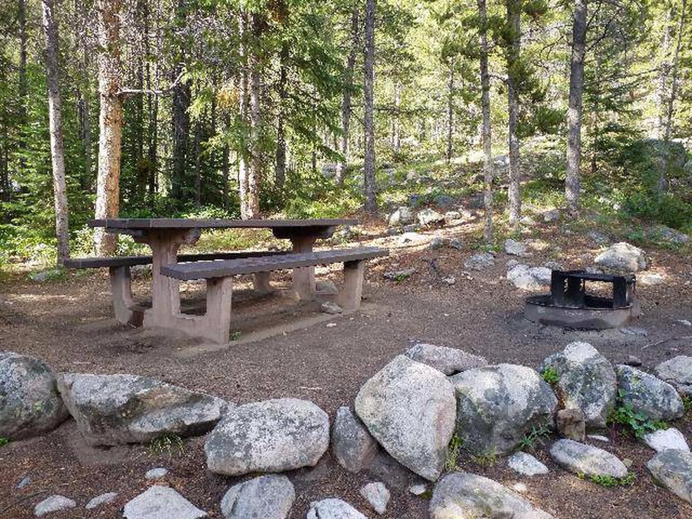 May Queen Campground, site 3 picnic table and fire ring