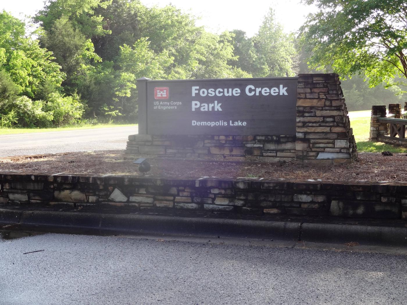 Foscue Creek Campground and Park entry sign.Foscue Creek Campground and Park