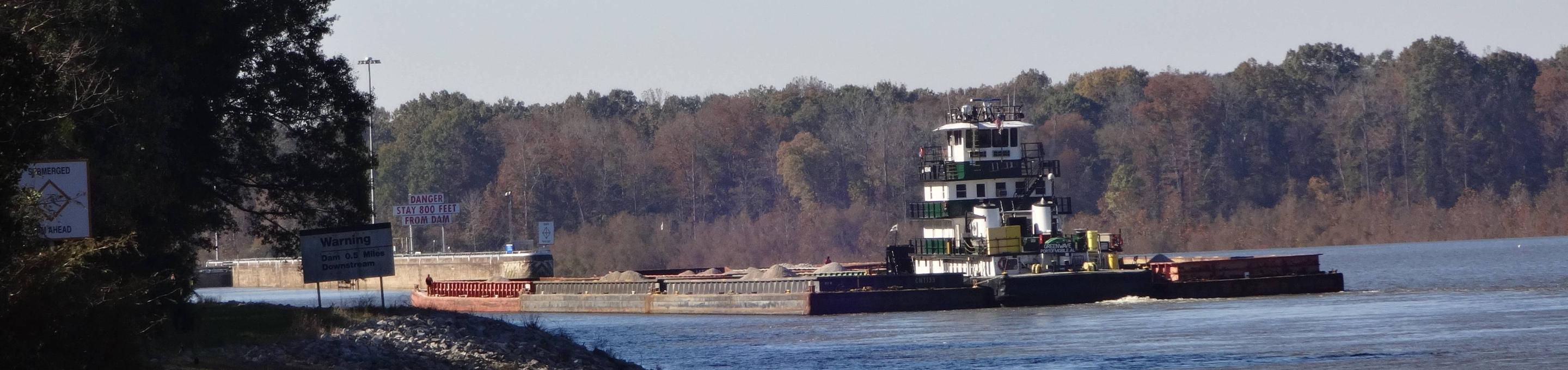 Barge traffic on the Tombigbee River.Barge