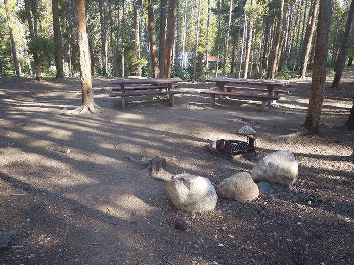 Molly Brown Campground, site 32 picnic tables and fire ring