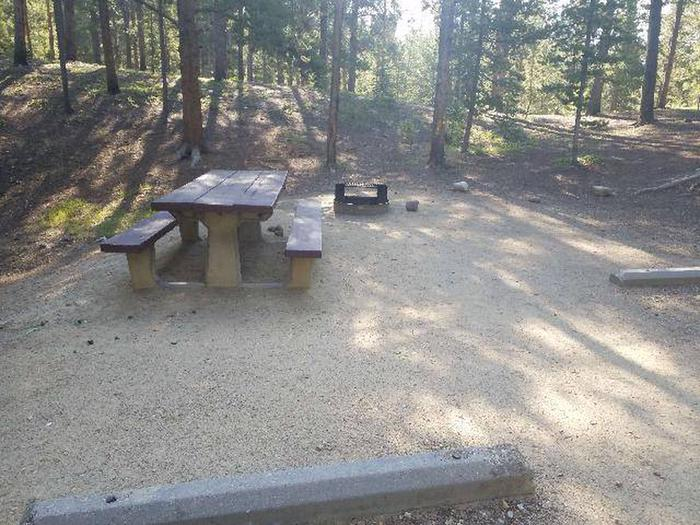 Molly Brown Campground, site 33 picnic table and fire ring