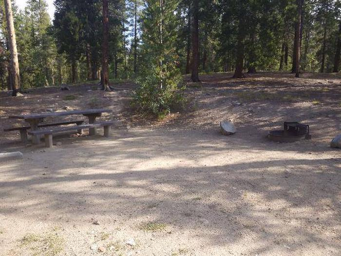Molly Brown Campground, site 39 picnic table and fire grill