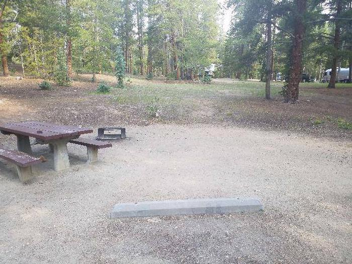 Molly Brown Campground, site 42 picnic table and fire ring