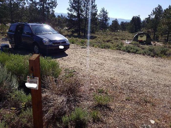 White star Campground, site 4 marker