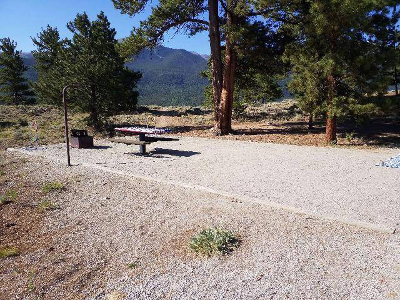 White Star Campground, site 7 picnic table, fire ring, and tent pad