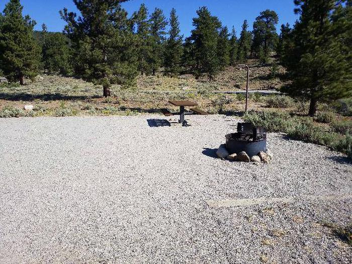 White Star Campground, site 11 picnic table and fire ring
