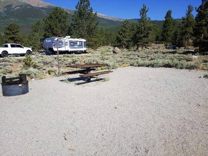 White Star Campground, site 15 picnic table and fire ring