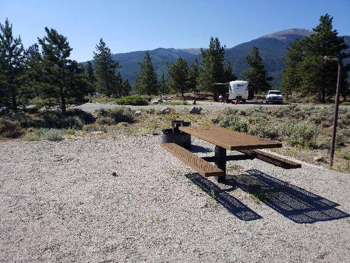 White Star Campground, site 19 picnic table and fire ring