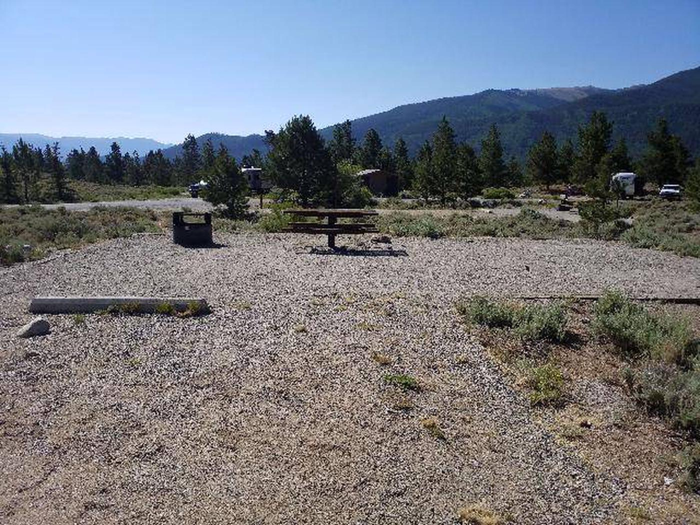 White Star Campground, site 22 picnic table and fire ring