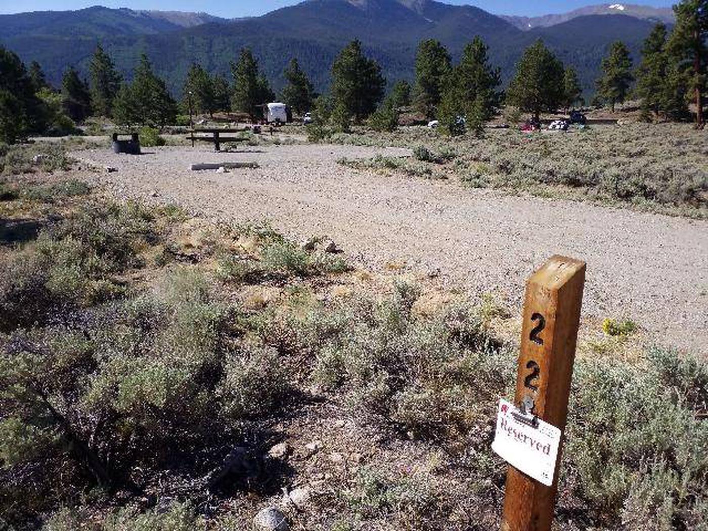 White Star Campground, site 22 marker