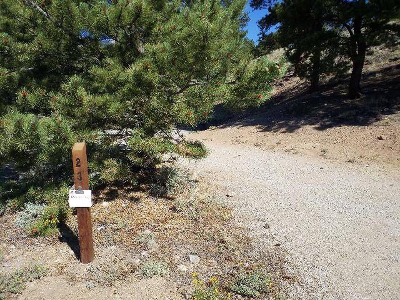 White Star Campground, site 23 marker