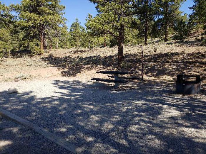 White Star Campground, site 25 picnic table and fire ring