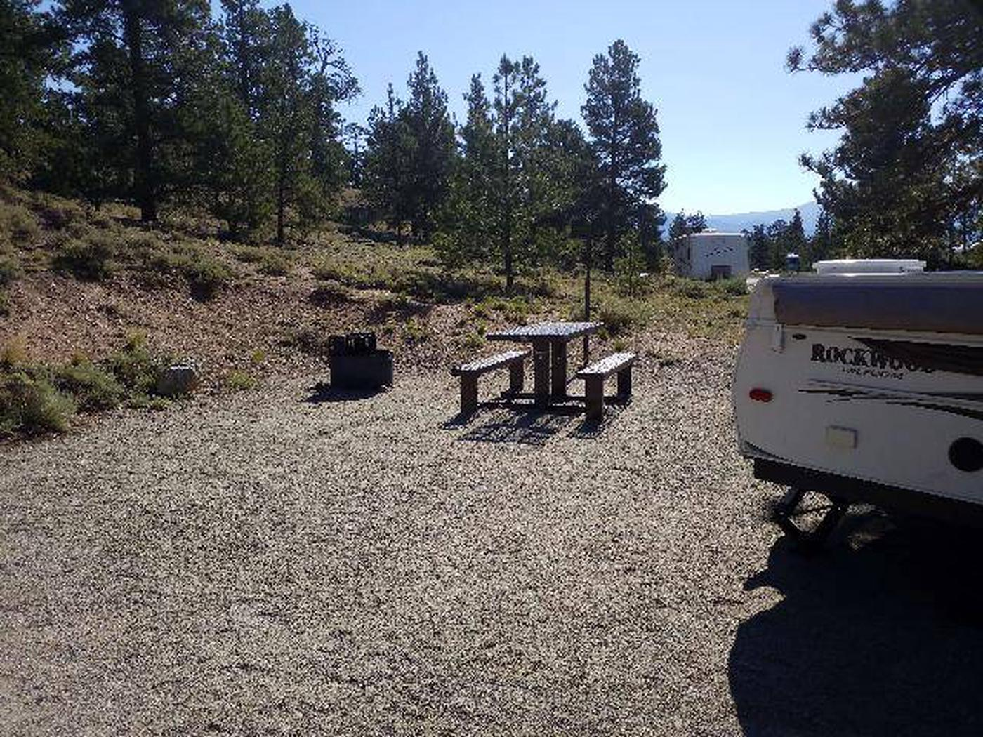 White Star Campground, site 27 picnic table and fire ring