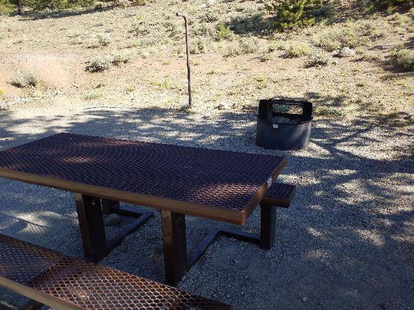 White Star Campground, site 28 picnic table and fire ring