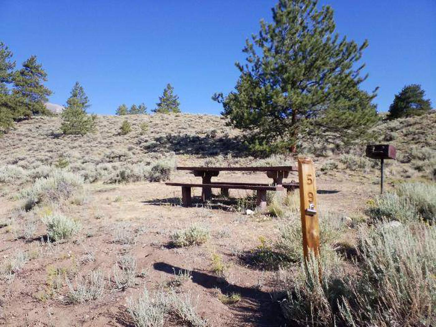 White Star Campground, site 59 picnic table and grill