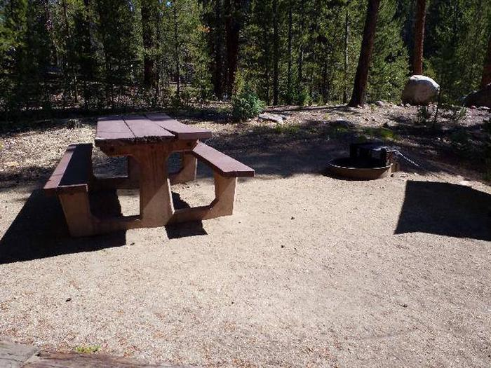 Father Dyer Campground, site 24 picnic table and fire ring