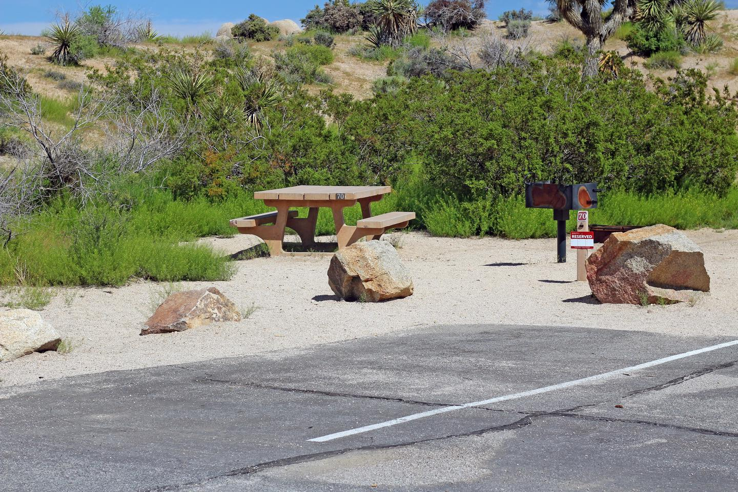 Shared parking for campsite. Picnic table surrounded by gentle rise and green plants.Shared parking and campsite.