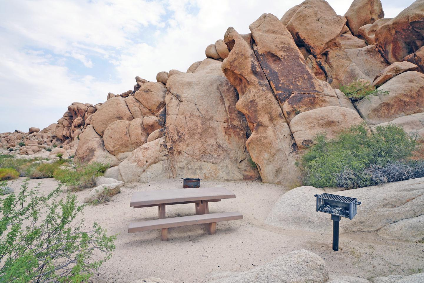 Campsite  with picnic table surrounded by boulders and green plantsCampsite.