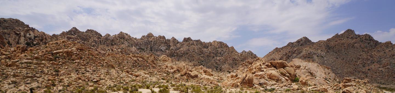 Rugged bolder mountains and blue sky.Wonderland of rocks.