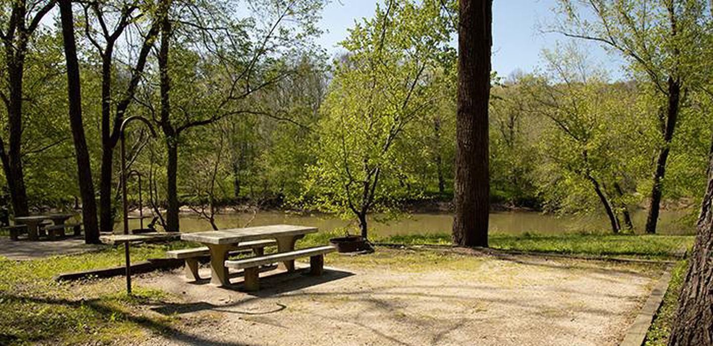Campsite number 6, has a view of the Green River, the campsite has a picnic table and fire ring.