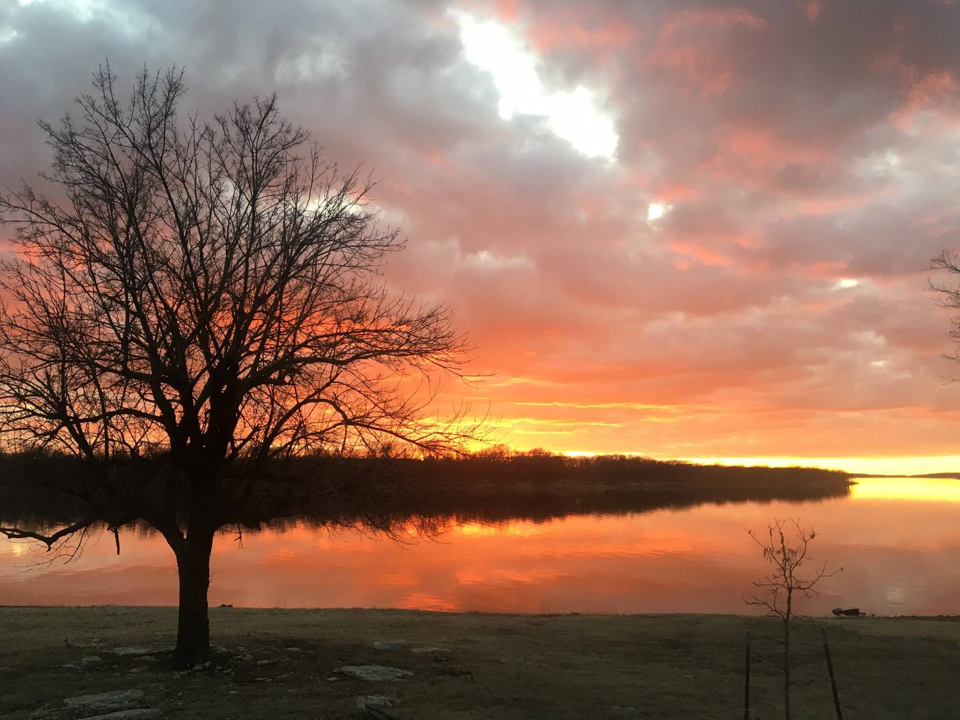 Sunset at over Oologah Lake. View from Blue Creek CampgroundSunset