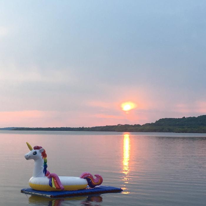 Sunset at over Oologah Lake. View from Blue Creek Campground 4Sunsetting over water floaty