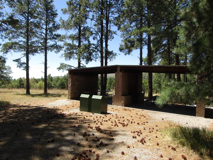 Covered shelters sit surrounded by tall pinesCampsites at Ponderosa Group Campground include covered cooking shelters with grills and picnic tables.