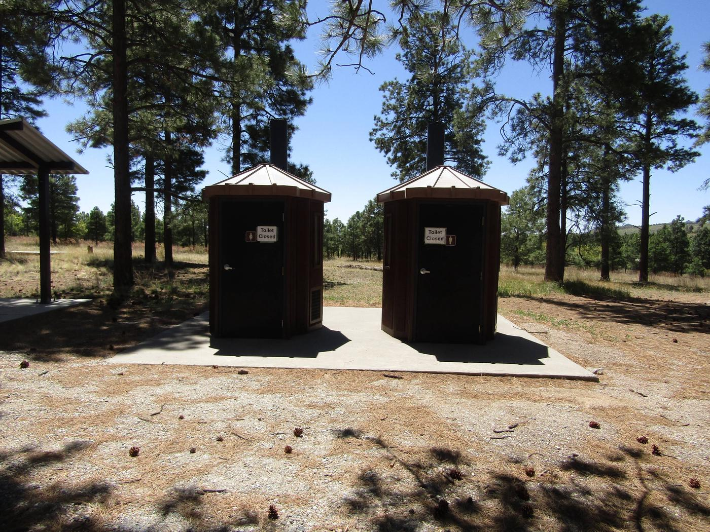 Vault toilets in front of tall pinesVault toilets are available to campers at Ponderosa Group Campground. No running water in restrooms or shower facilities are available.