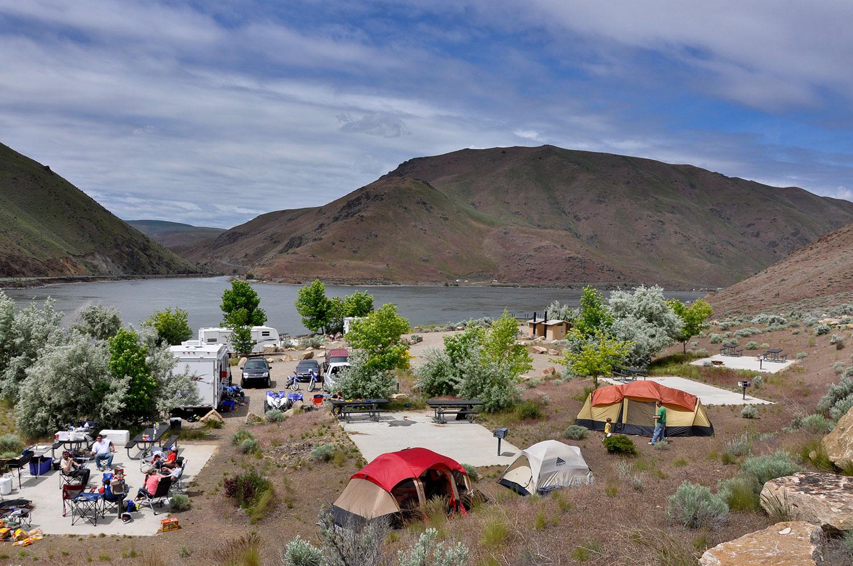 Group Campsite at Steck Park along Brownlee Reservoir near Weiser, Idaho