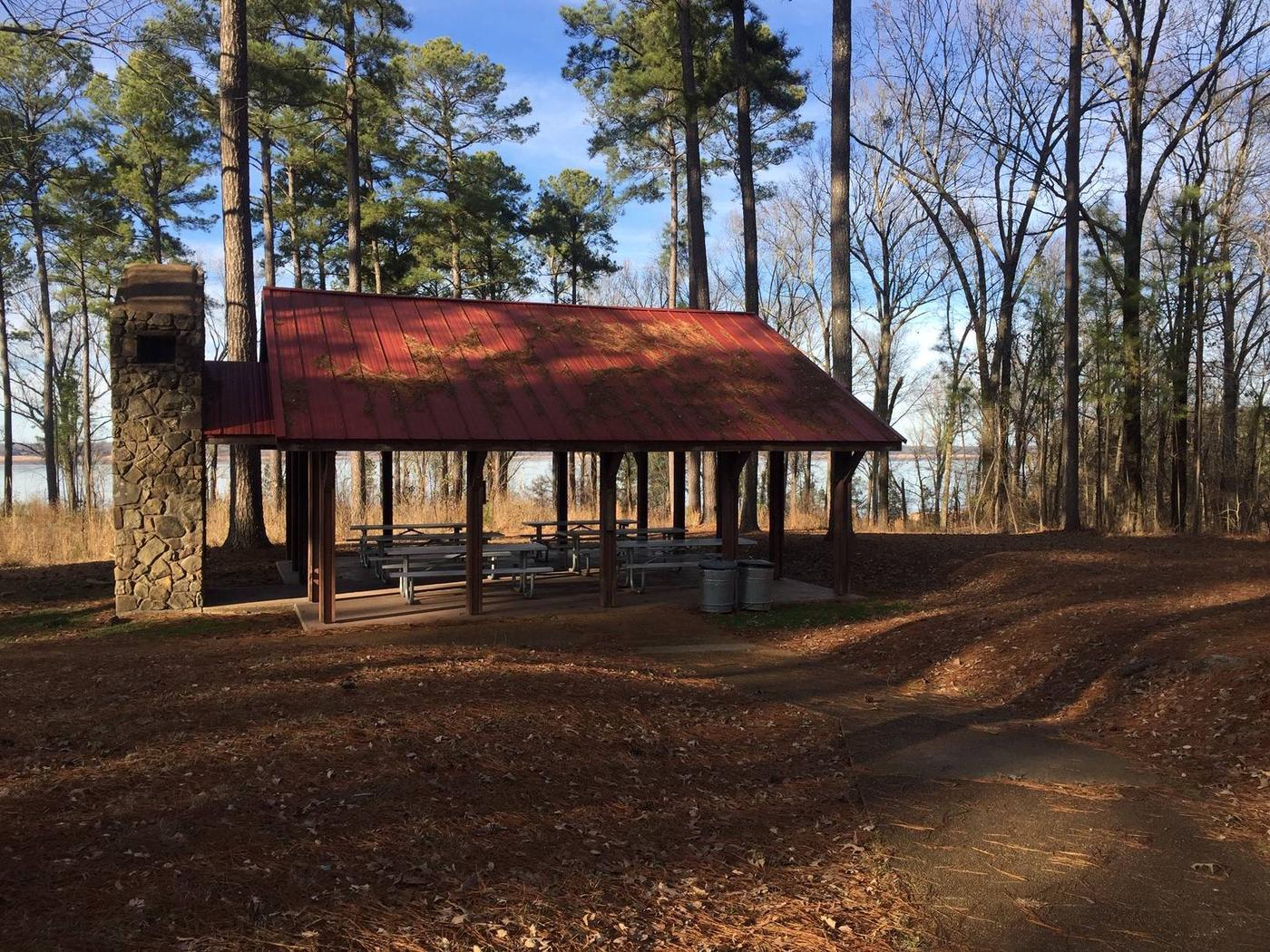 Pavilion located in the day use area of Pat's Bluff Pat's Bluff Picnic Shelter